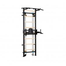 Металлическая Шведская стенка с эспандерной системой, съемными турником и скамьей 150х110х240см Black 64963