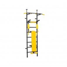 Металлическая Шведская стенка для подростков и взрослых с турником брусьями, скамьей 139х115х230см Black 64964