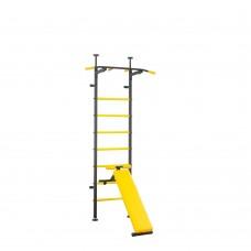 Металлическая Шведская стенка для подростков и взрослых с турником брусьями, скамьей 139х115х230см Yellow 64965