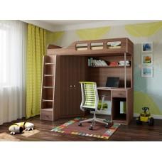 Детская Кровать-чердак для школьника со шкафом, полками и столом с тумбой 198х114х186см дуб шамони 64996