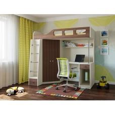 Детская Кровать-чердак для школьника со шкафом, полками и столом 198х114х186см дуб молочный+шамони 64997