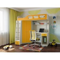 Детская Кровать-чердак для школьника со шкафом, полками и столом с тумбой 198х114х186см дуб молочн+оранж 64998