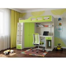 Детская Кровать-чердак для школьника со шкафом, полками и столом с тумбой 198х114х186см дуб молочн+лайм 64999
