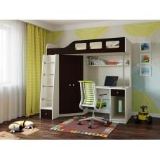 Детская Кровать-чердак для школьника со шкафом, полками и столом с тумбой 198х114х186см дуб молочн+венге 65000