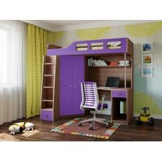 Детская Кровать-чердак для школьника со шкафом, полками, столом с тумбой 198х114х186см дуб шамони+сирень 65001