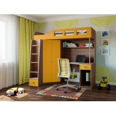 Детская Кровать-чердак для школьника со шкафом, полками и столом с тумбой 198х114х186см дуб шамони+оранж 65002
