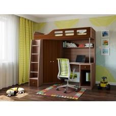 Детская Кровать-чердак для школьника со шкафом, полками и столом с тумбой 198х114х186см дуб шамони+орех 65003