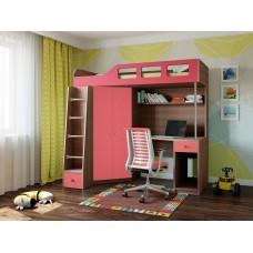 Детская Кровать-чердак для школьника со шкафом, полками, столом, тумбой 198х114х186см дуб шамони+розовый 65004