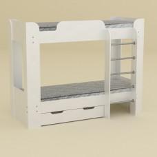 Двухъярусная детская Кровать-чердак с лестницей и выдвижными ящиками для хранения 197х90х152см белый 65204