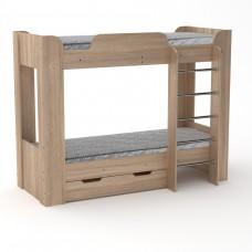 Двухъярусная детская Кровать-чердак с лестницей, выдвижными ящиками для хранения 197х90х152см дуб сонома 65207