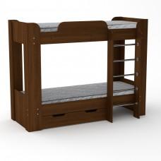 Двухъярусная детская Кровать-чердак с лестницей и выдвижными ящиками для хранения 197х90х152см орех-экко 65208