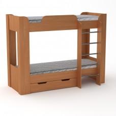 Двухъярусная детская Кровать-чердак с лестницей и выдвижными ящиками для хранения 197х90х152см ольха 65209