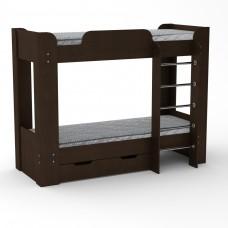 Двухъярусная детская Кровать-чердак с лестницей и выдвижными ящиками для хранения 197х90х152см венге 65210