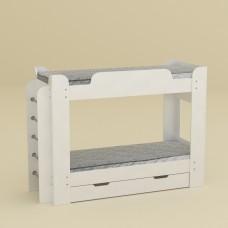 Двухъярусная детская Кровать-чердак с боковой лестницей и выдвижным ящиком для вещей 210х77х152см белый 65211