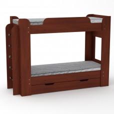 Двухъярусная детская Кровать-чердак с боковой лестницей и выдвижным ящиком для вещей 210х77х152см яблоня 65212