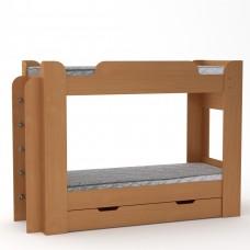 Двухъярусная детская Кровать-чердак с боковой лестницей и выдвижным ящиком для вещей 210х77х152см бук 65213