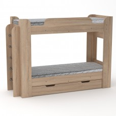 Двухъярусная детская Кровать-чердак с боковой лестницей и выдвижным ящиком 210х77х152см дуб сонома 65214