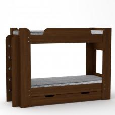 Двухъярусная детская Кровать-чердак с боковой лестницей и выдвижным ящиком 210х77х152см орех-экко 65215