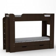 Двухъярусная детская Кровать-чердак с боковой лестницей и выдвижным ящиком 210х77х152см венге темный 65217