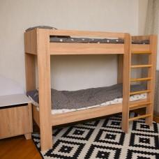 Детская двухъярусная Кровать с широкой лестницей, безопасным бортиком, ламели 193х99х150см венге светлый 65229