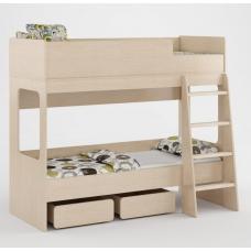 Детская двухъярусная кровать с бортиками, лестницей и выдвижными ящиками 178х96х152см венге светлый 65296