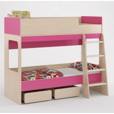 Детская двухъярусная кровать с бортиками, лестницей, выдвижными ящиками 178х96х152см венге светл+розовый 65297