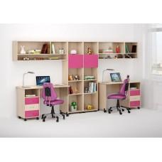 Уголок школьника двухместный - 2 письменных стола, 2 стеллажа, 2 полки 358х60х184см венге светлый+розовый 65341