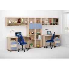 Уголок школьника двухместный - 2 письменных стола, 2 стеллажа, 2 полки 358х60х184см венге светлый+голубой 65342
