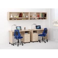 Уголок школьника двухместный: 2 письменных стола с ящиками, 2 полки-антресоли 268х60х184см венге светлый 65344