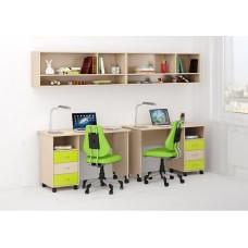 Уголок школьника двухместный: 2 письменных стола с ящиками, 2 антресоли 268х60х184см венге светлый+лайм 65344