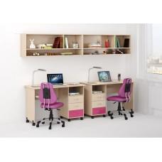 Уголок школьника двухместный: 2 письменных стола с ящиками, 2 антресоли 268х60х184см венге светл+розовый 65346