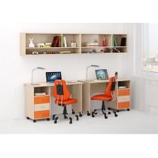 Уголок школьника двухместный: 2 письменных стола с ящиками, 2 антресоли 268х60х184см венге светлый+оранж 65348