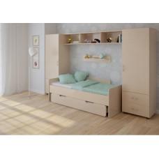Детская стенка с двумя кроватями, 2 одностворчатых пенала, полка, антресоль 316х90х185см венге светлый 65376