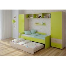 Детская стенка с 2 кроватями, 2 одностворчатых пенала, полка, антресоль 316х90х185см венге светлый+лайм 65377