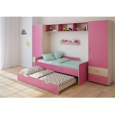 Детская стенка с 2 кроватями, 2 одностворчатых пенала, полка, антресоль 316х90х185см венге светл+розовый 65378
