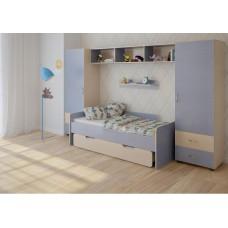 Детская стенка с 2 кроватями, 2 одностворчатых пенала, полка, антресоль 316х90х185см венге светл+голубой 65379