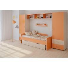 Детская стенка с 2 кроватями, 2 одностворчатых пенала, полка, антресоль 316х90х185см венге светлый+оранж 65380