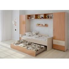 Детская стенка с 2 кроватями, 2 одностворчатых пенала, полка, антресоль 316х90х185см венге светлый+ольха 65382