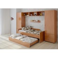 Детская домашняя стенка с двумя кроватями, 2 одностворчатых пенала, полка и антресоль 316х90х185см ольха 65383