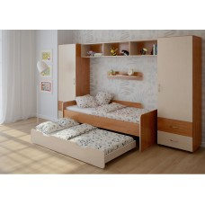 Детская стенка с 2 кроватями, 2 одностворчатых пенала, полка, антресоль 316х90х185см ольха+венге светлый 65384