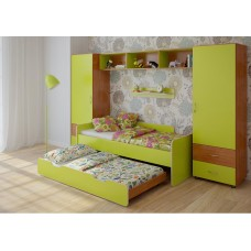 Детская стенка с двумя кроватями, 2 одностворчатых пенала, полка и антресоль 316х90х185см ольха+лайм 65385