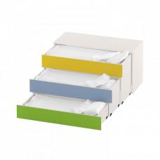 Тумба-кровать с 3 выдвижными ярусами для детского сада из ДСП 159х68х83см салатовый, синий, желтый 63720