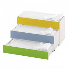 Тумба-кровать с 3 выдвижными ярусами для детского сада из ДСП 153х66х79см салатовый, синий, желтый 63721