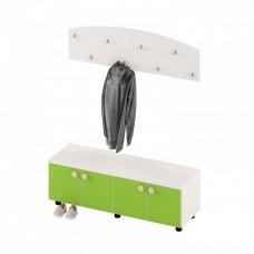 Тумба с выдвижными ящиками для детской одежды и обуви для детских садов из ДСП 110х35х35см салатовая 63732