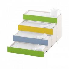 Тумба-кровать с 4 выдвижными ярусами для детских садов из ДСП 159х68х107см салатовый, синий, желтый 63722
