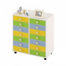 Детский шкаф для хранения творческих материалов с 14  выдвижными ящиками для детских садов 80х40х85 см 63754