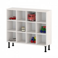 Напольный шкаф - стеллаж для горшков на 12 мест с открытыми полками для детских садов 109х32х97 см 63735