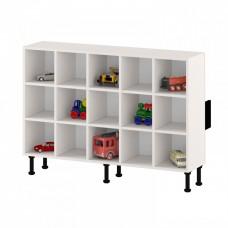 Напольный шкаф - стеллаж для горшков на 15 мест с открытыми полками для детских садов 135х32х97 см 63736