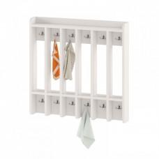 Вешалка Шкаф настенный для хранения полотенец для детских садов на 6 вертикальных секций 84х11х120см 63739