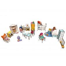 Игровая мебель из ЭКО-материалов для игры с куклами ЛОЛ LOL - Набор из 16 предметов для кукольного домика (1301)